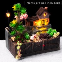 Tuscany's Cabin Pot Lighting Garden Fairy Small House Succulent Green Plant Planter Herb Flower Basket Bonsai Pot Home Decor Craft Ornaments Magic Lantern House Planter