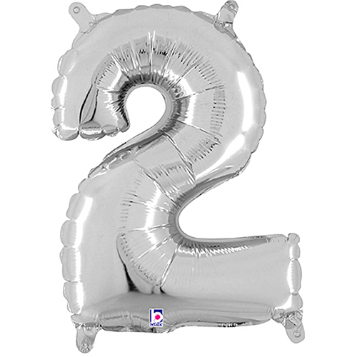 Number 2 Silver Megaloon Junior Balloon