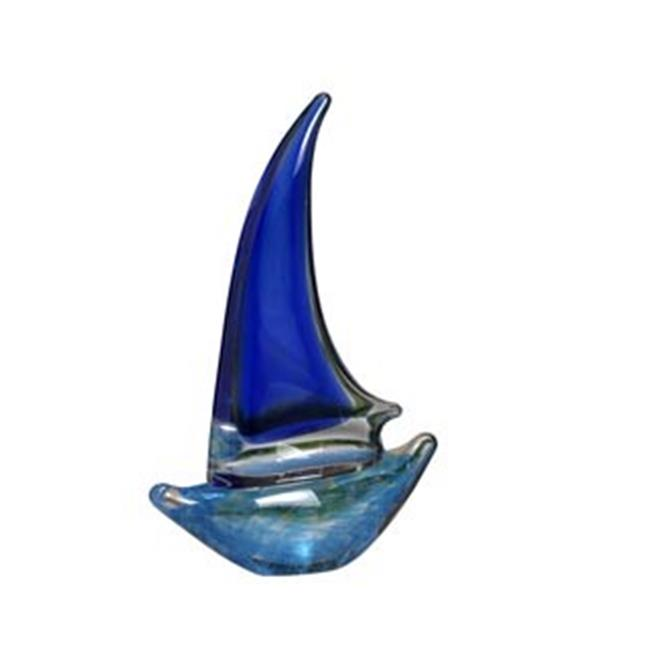 Biedermann & Sons H525MD 2-Tone Blue Glass Sailboat Candle Holder