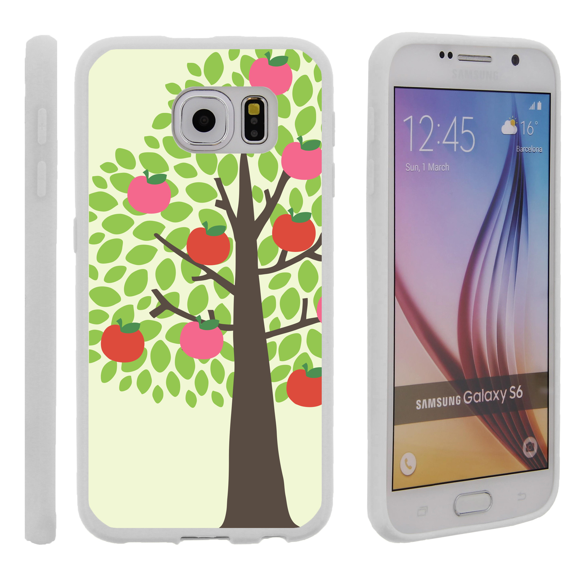 Samsung Galaxy S6 G920, Flexible Case [FLEX FORCE] Slim Durable TPU Sleek Bumper with Unique Designs - Apple Tree