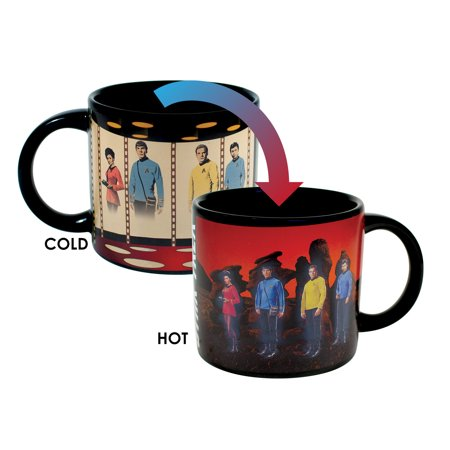 Star Trek Transporter Heat Changing Coffee Mug - Add Hot Liquid and Kirk, Spok, McCoy and Uhura Appear on the Planet's