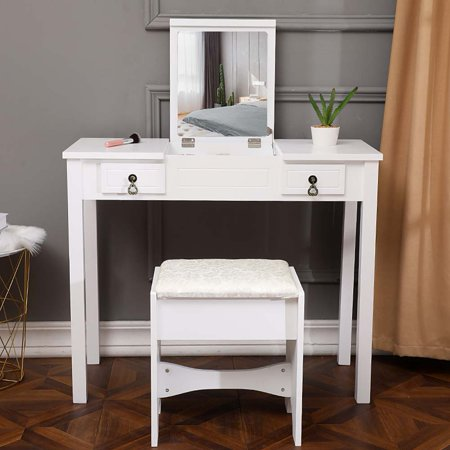 Hommoo Vanity Table Set with Mirror for Girls, White Bedroom Dressing Table with Vanity Stool, 2 Drawers Makeup Table with Removable Desk Makeup Organizer ()