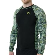Aqua Design Mens Long Sleeve Big Wave Loose Fit UPF 50+ Sun Protection Rash Guard Swim Athletic Shirt