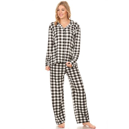 Z2150 Womens Sleepwear Pajamas Woman Long Sleeve Button Down set Black XXL