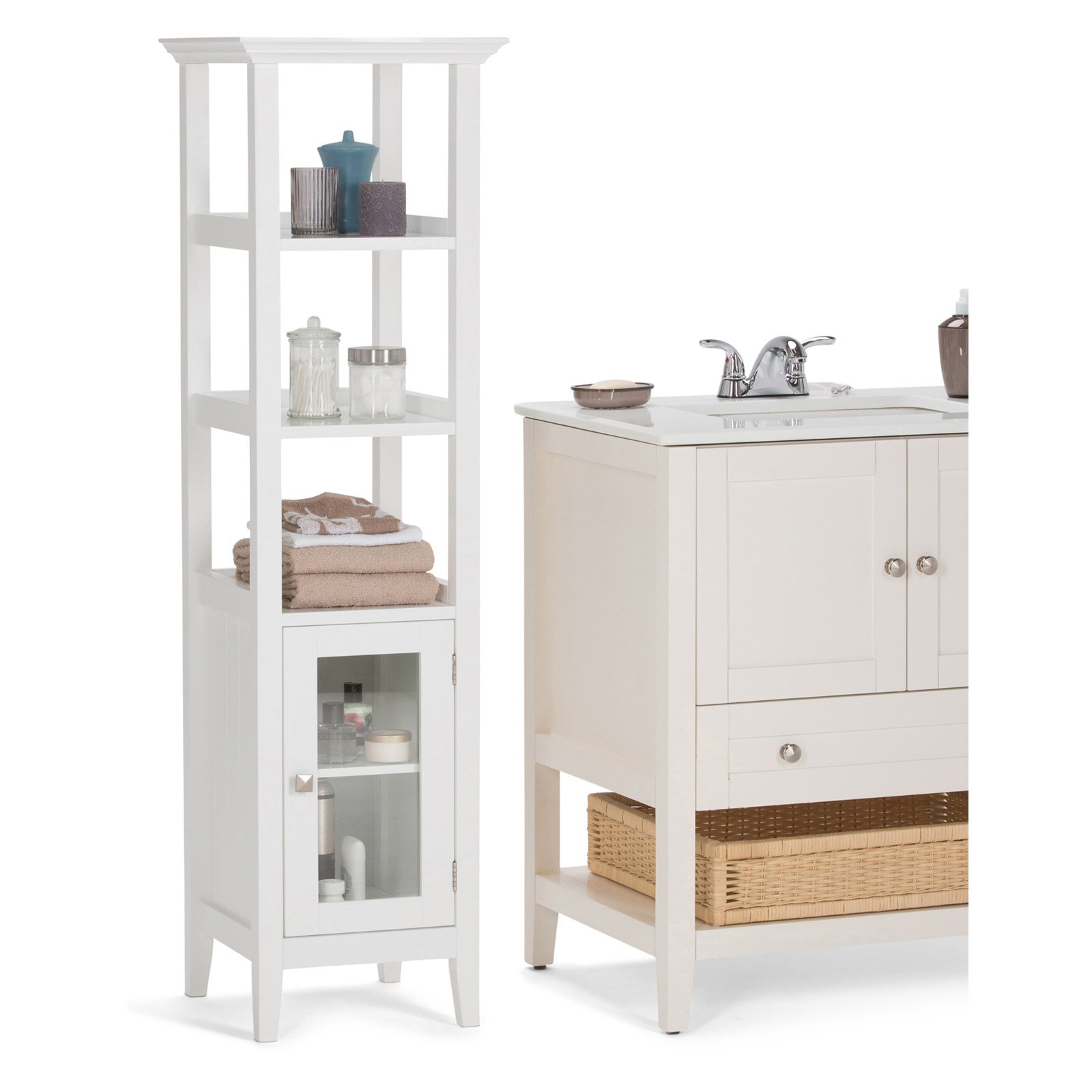 Simpli Home Acadian Bath Storage Tower