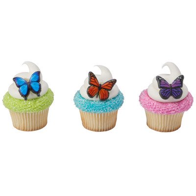 24pack Butterfly Cupcake / Desert / Food Decoration Topper Rings with Favor Stickers & Sparkle Flakes - Butterfly Party Favors