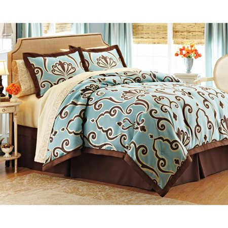 Better homes and gardens damask scroll 8 piece bed in a bag for Better homes and gardens bed in a bag