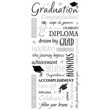 Clear Sticker - Graduation Words - w/ Foil 5.5'' x 12'' Toys New pscb323](Graduation Crafts)