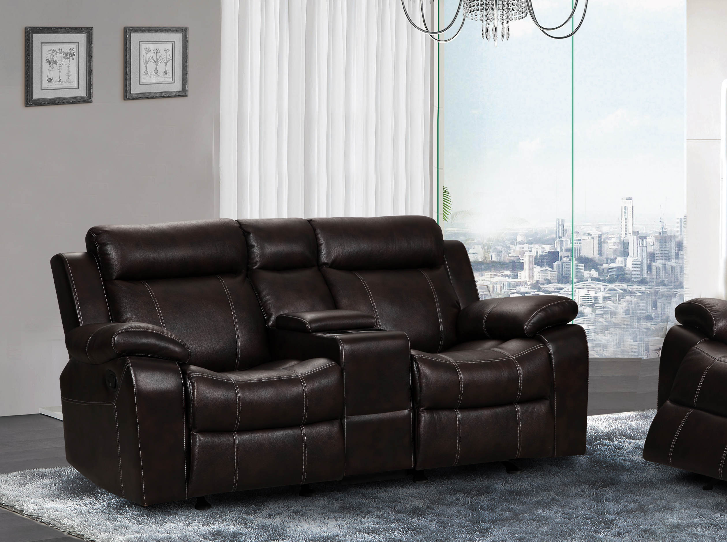 UFE Vivienne Leather Air Rocking Reclining Loveseat with Console Brown & UFE Zoey Bonded Leather Reclining Loveseat with Center Console ... islam-shia.org