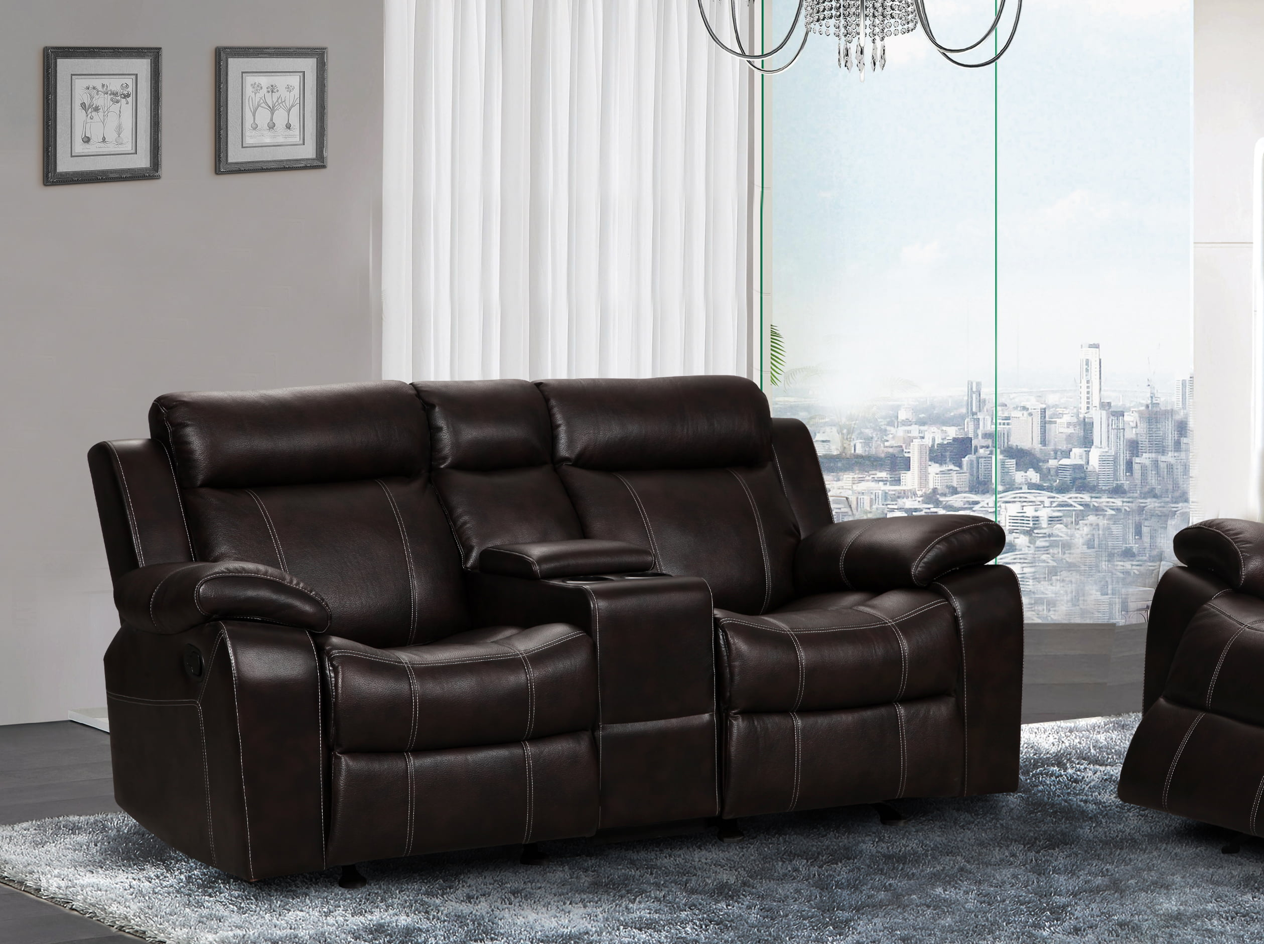 UFE Vivienne Leather Air Rocking Reclining Loveseat with Console Brown : leather recliner loveseats - islam-shia.org