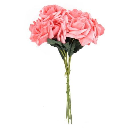Bridal Wedding Foam Rose Buds Handhold Artificial Flower Blossom Pink 10pcs - Foam Flower