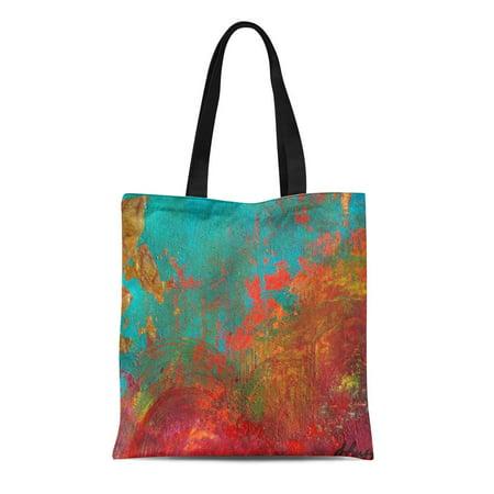 - ASHLEIGH Canvas Tote Bag Orange Turquoise Gigi Birthday Red Aqua Designer Original Abstract Reusable Handbag Shoulder Grocery Shopping Bags
