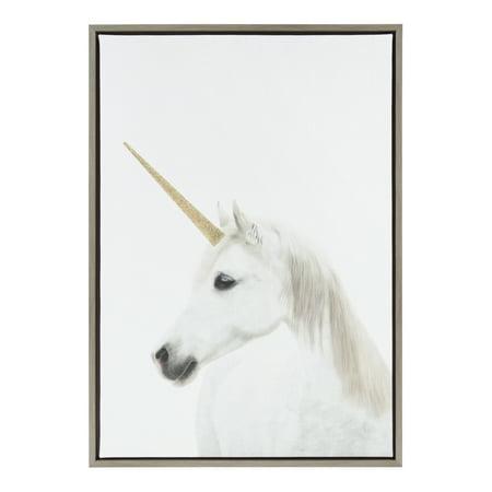 Kate and Laurel Sylvie White Glitter Unicorn Framed Canvas Wall Art, 23x33 Gray (Glitter Wall Art)