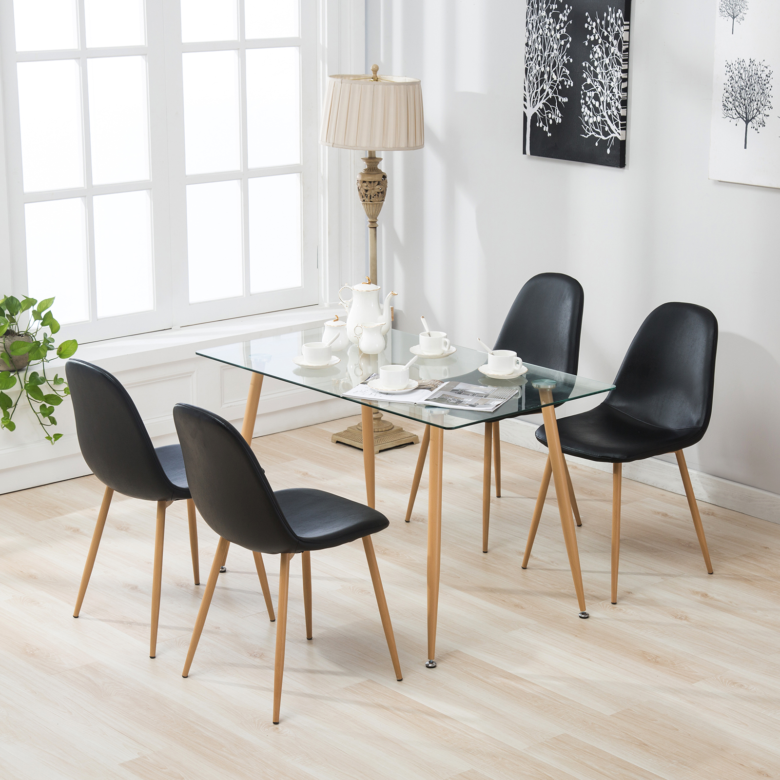 Uenjoy Dining Set Glass Top Table with Leather Chairs Kitchen Breakfast Furniture Black (Eames)