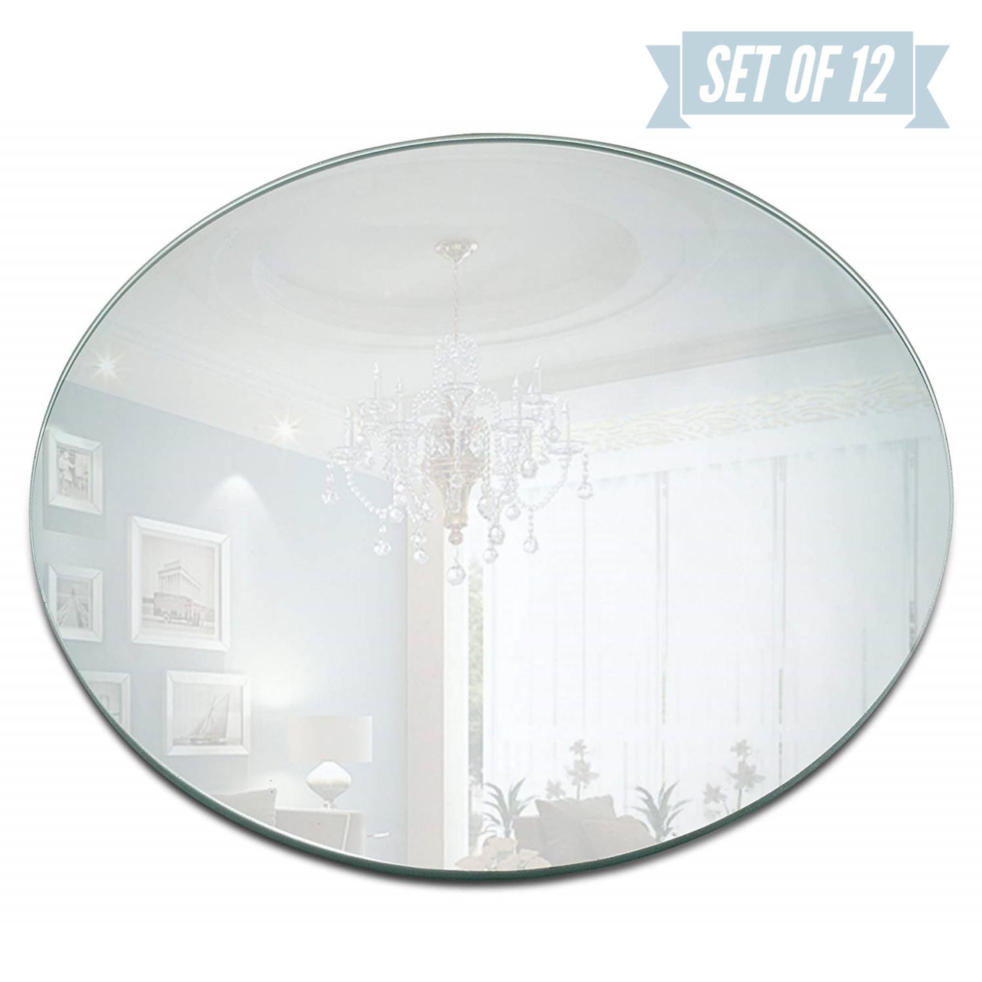 Darice Round Mirror Wedding Table Centerpieces Sanded Egdes 10 Pieces 12 Inches