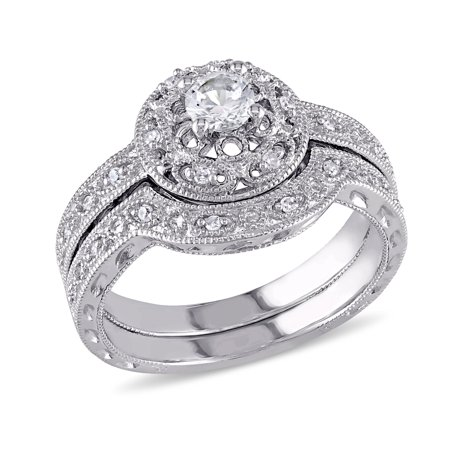 Created White Sapphire 1/3 Carat (ctw G-H, I2-I3) Bridal Engagement Ring and Wedding Band Set with Diamonds in Sterling Silver