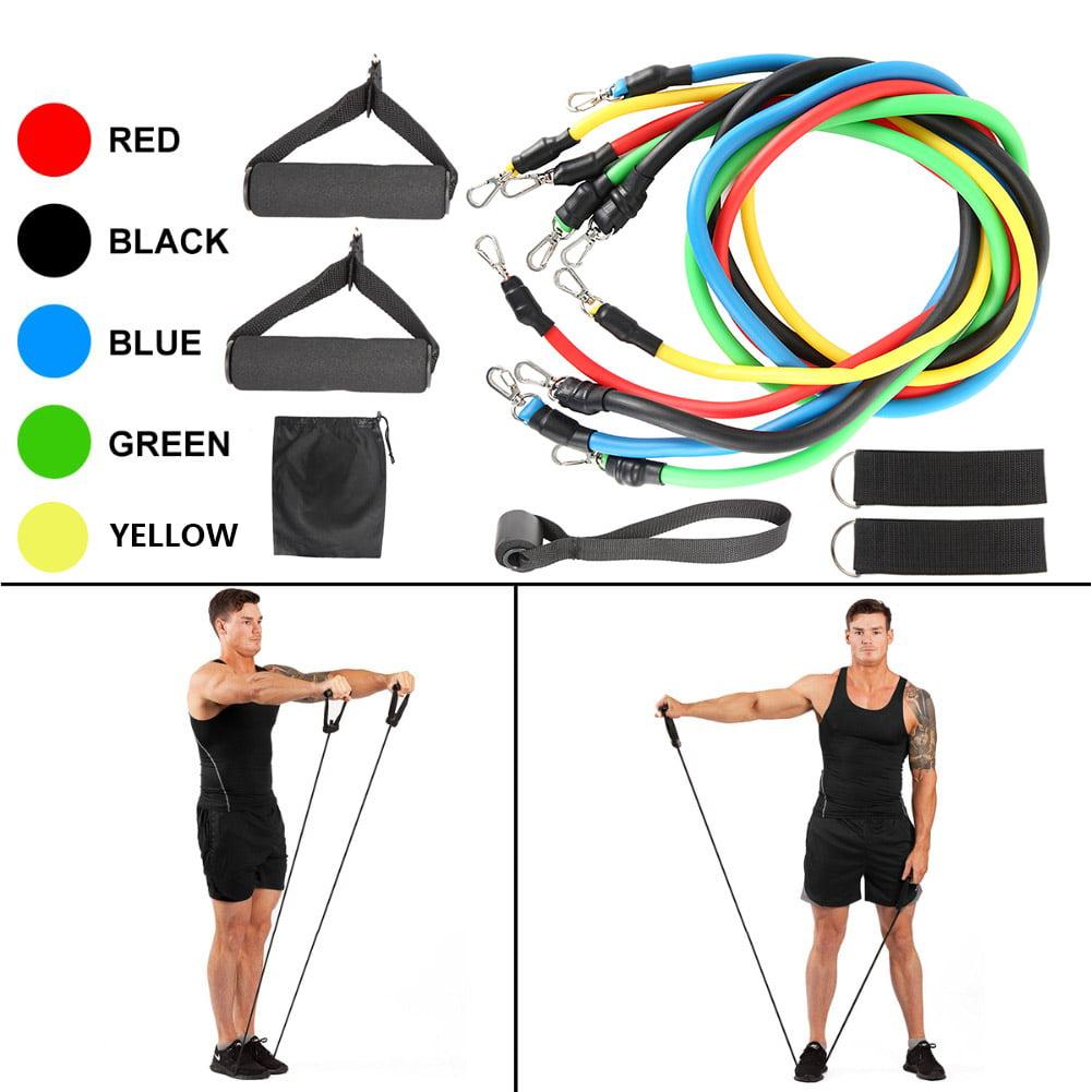 Men Women Resistance Bands Workout Exercise Yoga Crossfit Fitness Tube New 11PCS