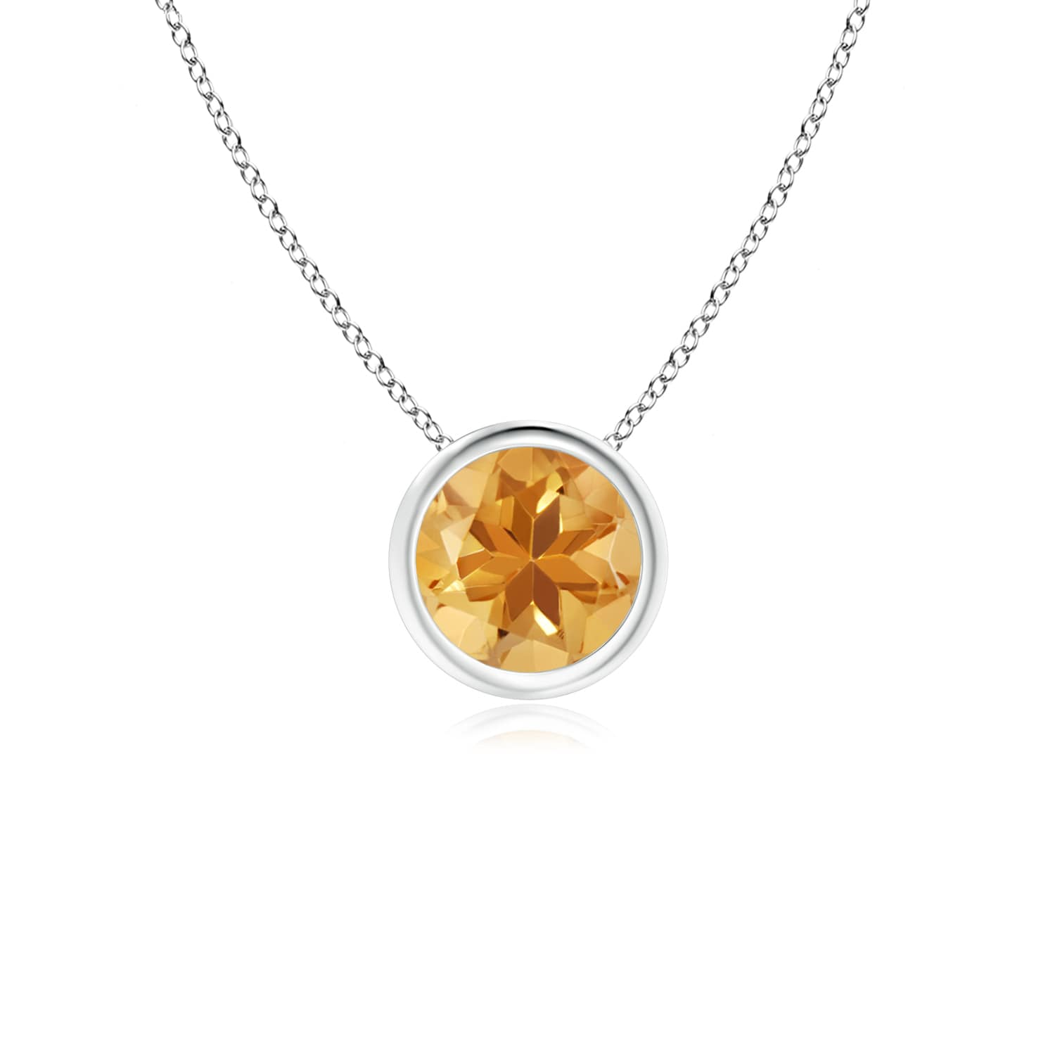 Angara Round Citrine Bezel-Set Necklace for Her in Rose Gold Qw2FWq