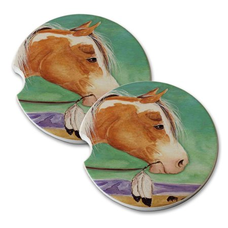 KuzmarK Sandstone Car Drink Coaster (set of 2) - Palomino Pinto Indian Buffalo Runner Horse Art by Denise