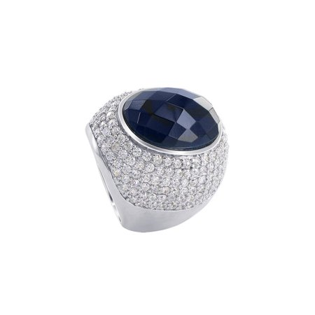 Gem Avenue 925 Sterling Silver Black Faceted Cubic Zirconia Cocktail Ring Size 7