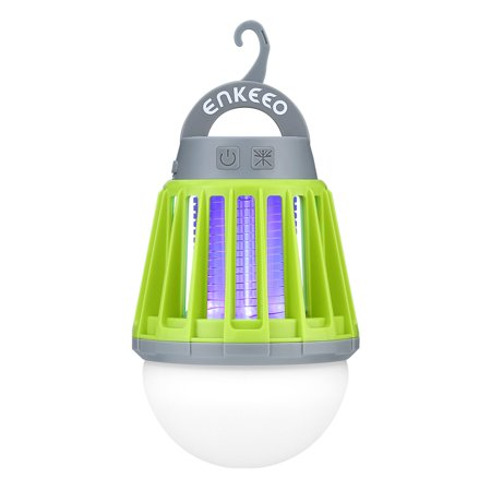 Enkeeo Mosquito Zapper Lantern - Portable, Waterproof Bug Killer with 2000 mAh Rechargeable Battery, GREEN