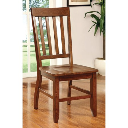 Furniture Of America Fort Wooden Slatted Dining Side Chairs   Set Of 2