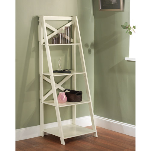 X 4-Tier Shelf, Antique White