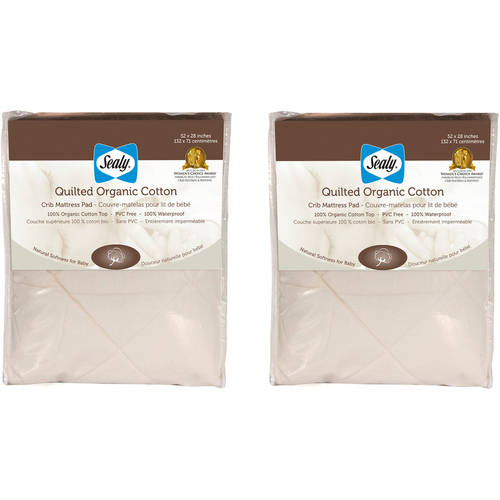 (2 Pack) Sealy Quilted Crib Mattress Pad with Organic Cotton Top