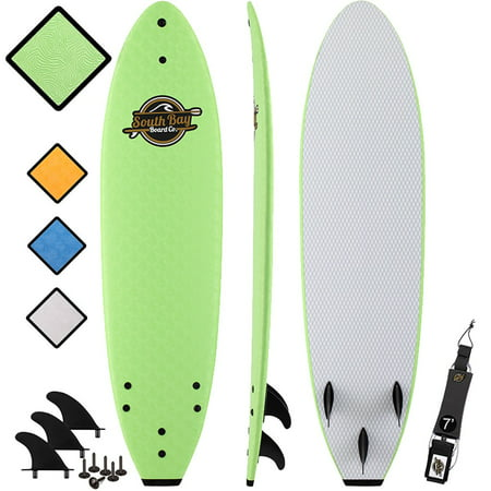 South Bay Board CO. 7' Green Ruccus Soft Top Surfboard, Leash & Fins