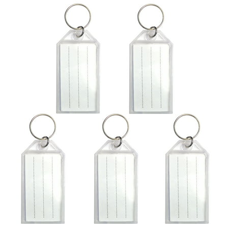 50 Pack Tough Plastic Key Tags with Split Ring Label Window, Coded ID Tags or Luggage Tags, White Color