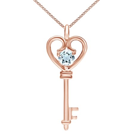 - Simulated Aquamarine Heart Key Pendant Necklace 14k Rose Gold Over Sterling Silver 0.60 Ct