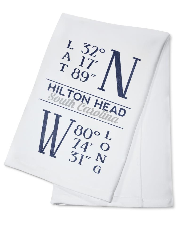 Hilton Head, South Carolina Latitude & Longitude (Blue) Lantern Press Artwork (100% Cotton... by Lantern Press