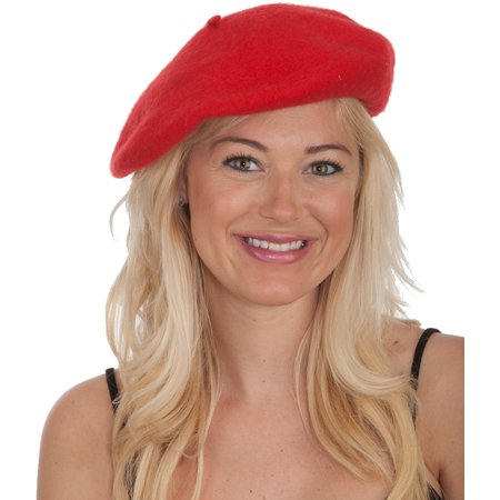 New Men's Women's Red Wool Beret Hat Cap Costume - Red Black Jester Hat