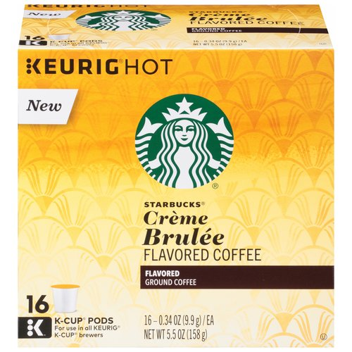 Starbucks Creme Brulee Flavored Ground Coffee K-Cup Pods, 0.34 oz, 16 count