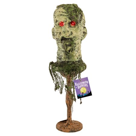 Halloween Haunters Zombie Head on Standing Platform with Flashing Red Eyes - Prop Decoration - Chipotle Sale On Halloween