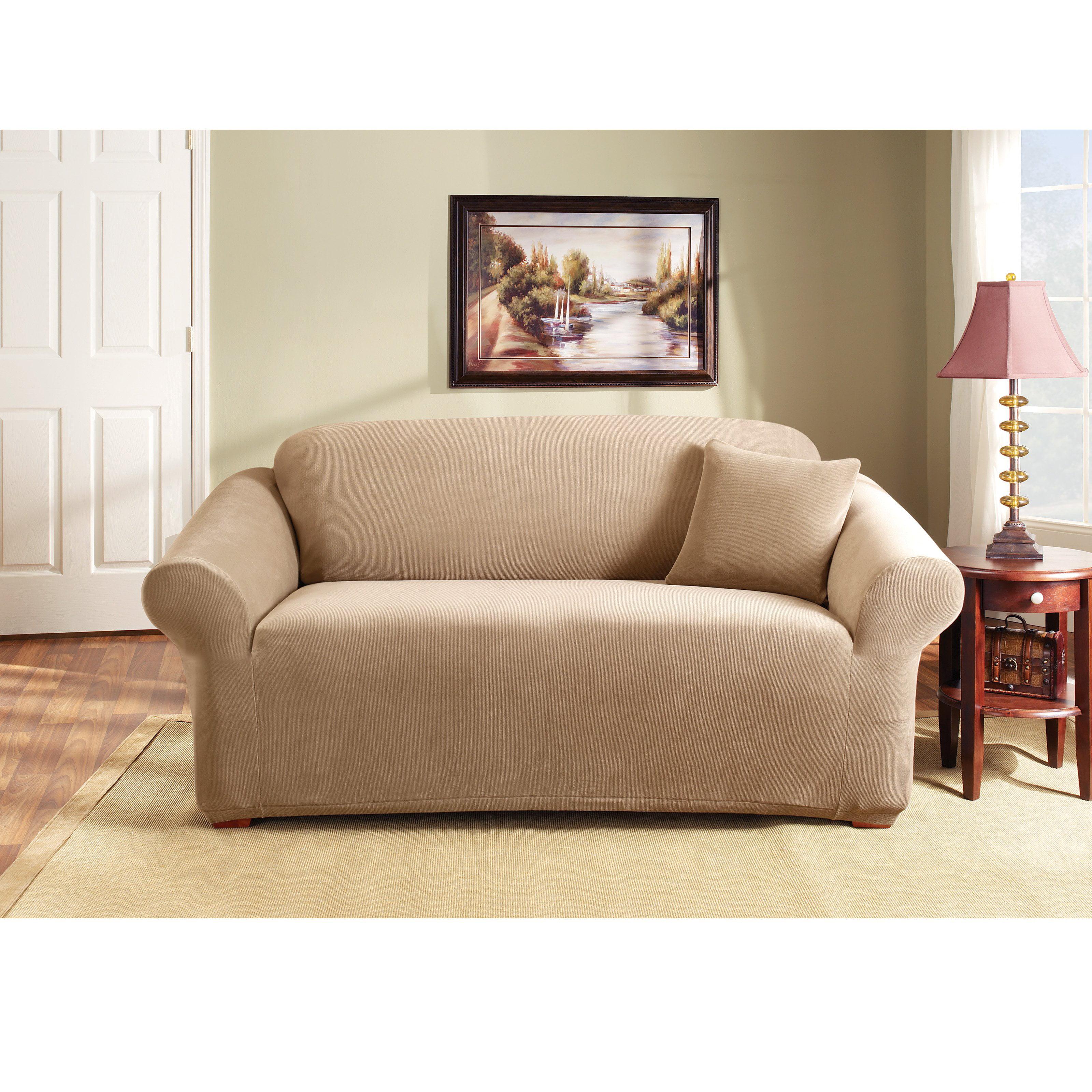 Sure Fit Stretch Pearson Sofa Slipcover   Coffee   Walmart.com