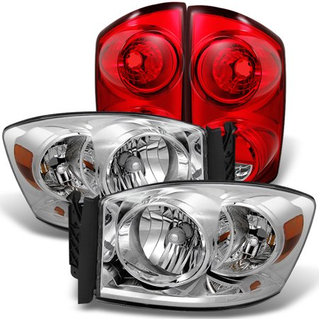 Fit 07 08 Dodge Ram 1500 2007 2009 2500 3500 Clear Headlights Red Tail Light