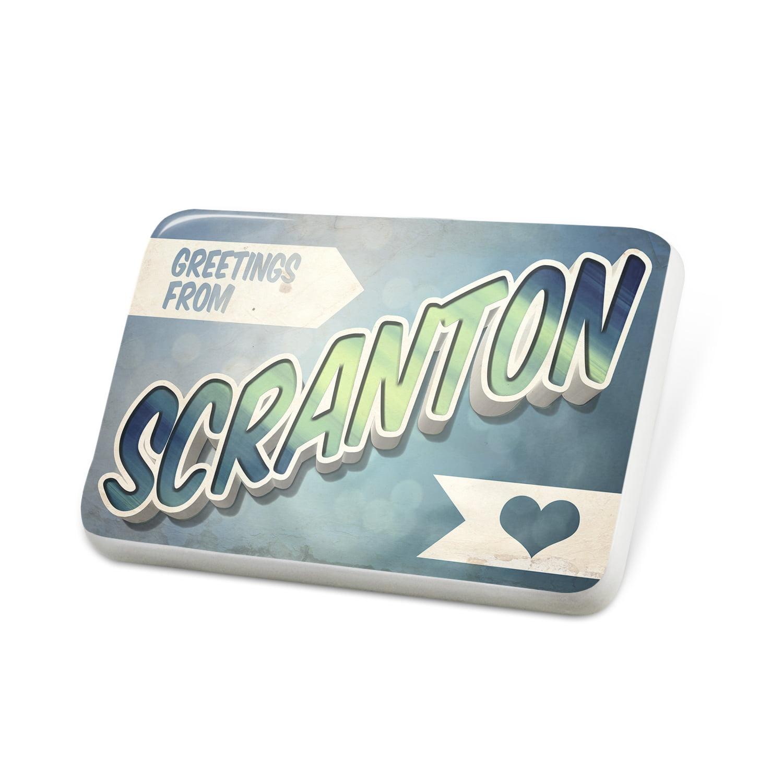 Porcelein Pin Greetings from Scranton, Vintage Postcard Lapel Badge – NEONBLOND
