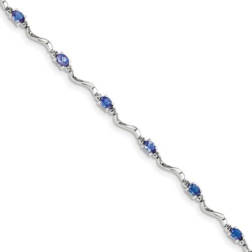 Sterling Silver Rhodium Plated Diamond & Tanzanite Bracelet. Carat Wt- 4.66ct by Jewelrypot