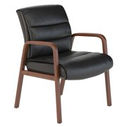 CH1502BLL-03 Bush Business Furniture Black Leather Soft Sense Leather Guest Chair with Wood Arms