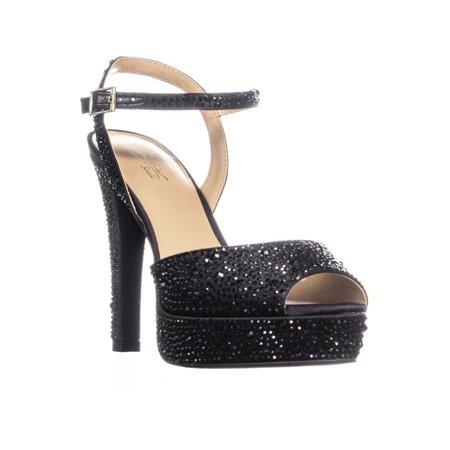 bf36df9d259 Thalia Sodi - Thalia Sodi Womens Bridget Rhinestone-Encrusted Platform  Dress Sandals (Black Satin