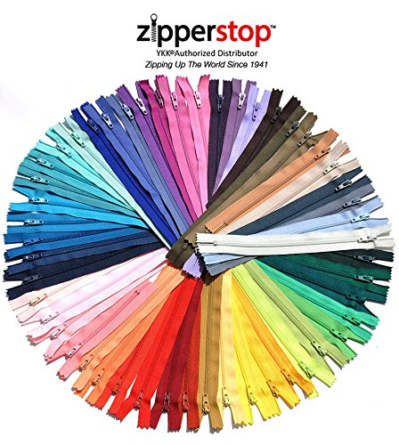 "ZipperStop Wholesale Authorized Distributor YKK® #3 Skirt & Dress Zippers 7"" Inch ~ Assortment of Colors 25 Zippers Crafter's Special Bonus Neon Zippers"