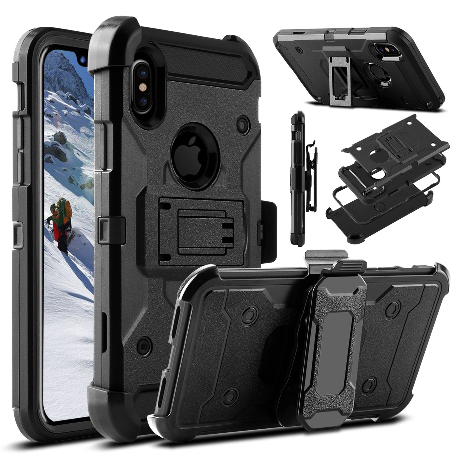ELEGANT CHOISE iPhone X Case, 4 in 1 [Swivel Belt Clip] with [Kickstand] Heavy Duty Hybrid Dual Layer Rugged Combo Holster Case Cover for iPhone 10 (Black)