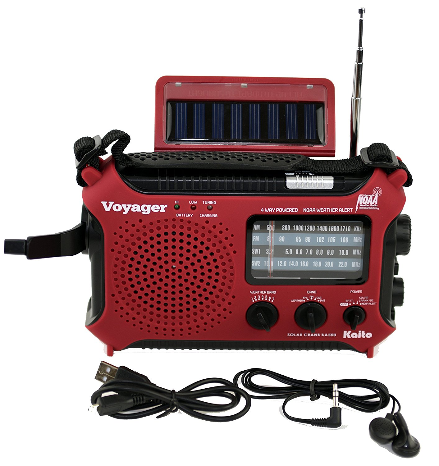 Kaito KA500 5-way Powered Emergency AM/FM/SW NOAA Weather Alert Radio with Solar Dynamo Crank Flashlight and Reading Lamp - Red