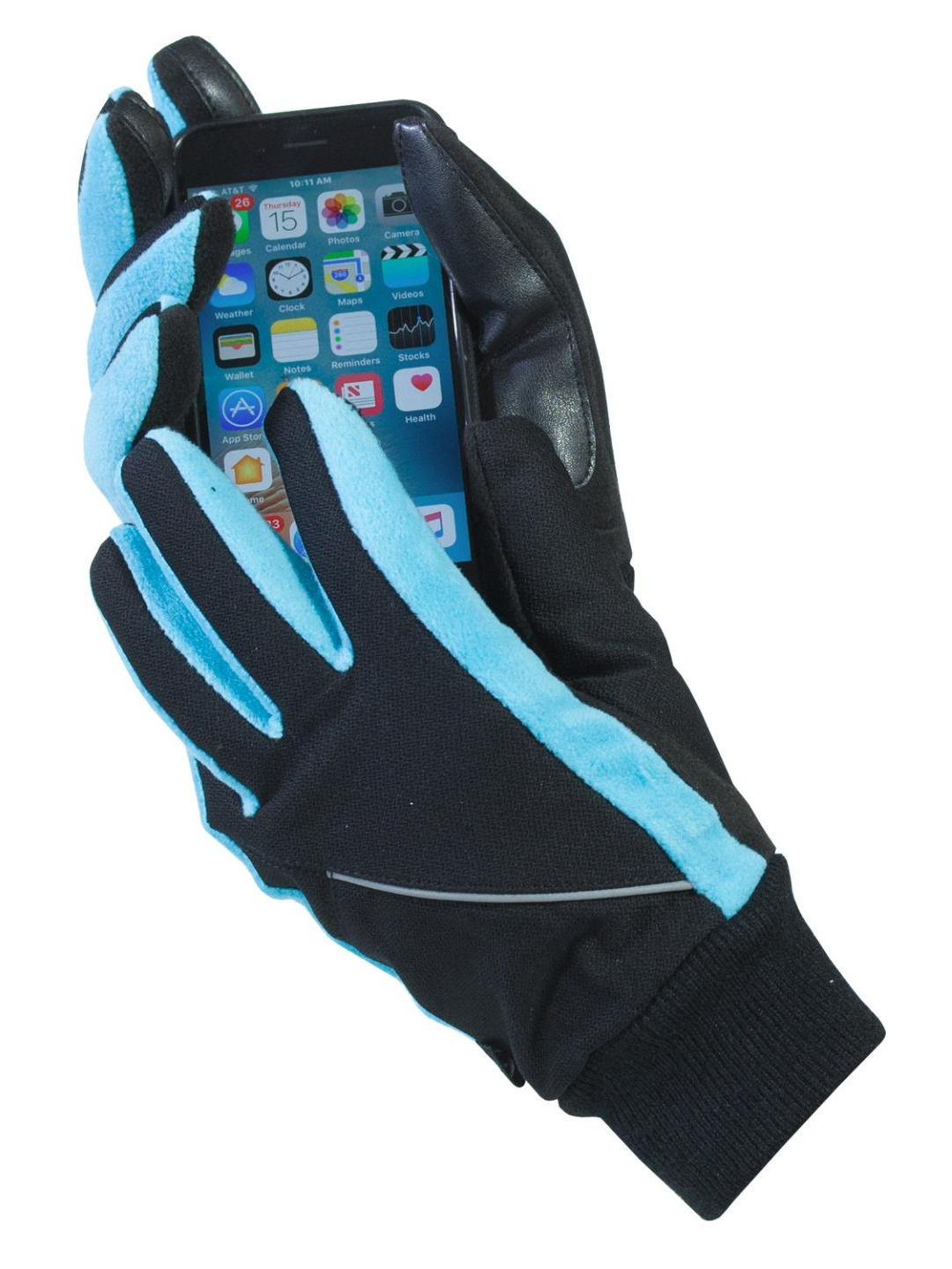 Isotoner Women's Touch Screen Thermaflex Gloves Black & Aqua Small / Medium