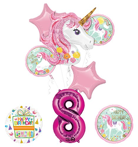 "Unicorn Party Supplies ""Believe In Unicorns"" 8th Birthday Balloon Bouquet Decorations"