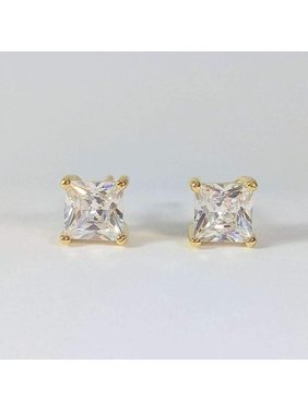 611c113f8 Product Image ON SALE - Tiara Princess Cut IOBI Simulated Diamond Solitaire  Stud Earrings Yellow Gold / .