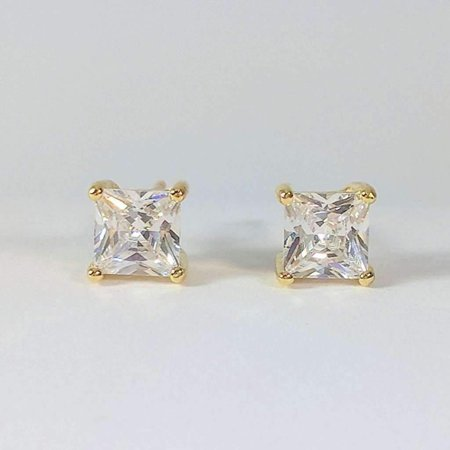 Cut Simulated Diamond Studs (ON SALE - Tiara Princess Cut IOBI Simulated Diamond Solitaire Stud Earrings Yellow Gold / .75)