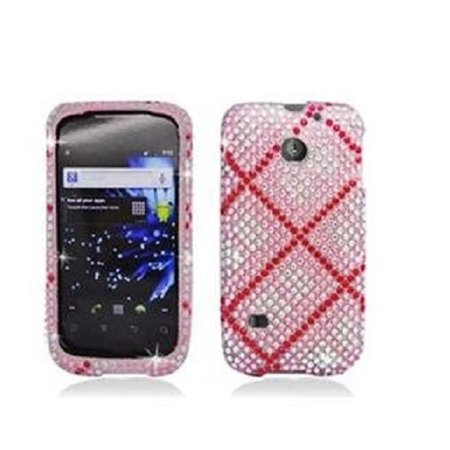 Pink Plaid Pattern Design Diamond Snap-On Case Cover for Huawei Ascend II M865 ()