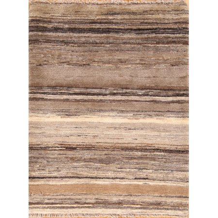 Hand Knotted Stripes (One-of-a-Kind Stripe Modern 3x4 Gabbeh Oriental Hand Knotted Rug)